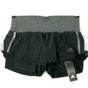 Adidas Womens Two Layer Black Running Short Small